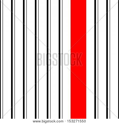 Seamless Vertical Stripe Pattern. Vector Black and Red Background. Abstract Wrapping Minimal Design