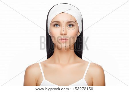Plastic surgery woman face. Aesthetic surgery. Drawn lines on woman's face, marks for facial plastic surgery. Beautiful Woman before Plastic Surgery Operation Cosmetology. Beauty Face poster