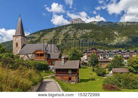 View of Altaussee village with parish church Styria Austria