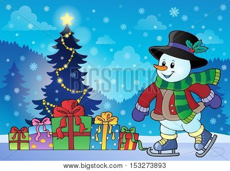 Snowman near Christmas tree theme 2 - eps10 vector illustration.