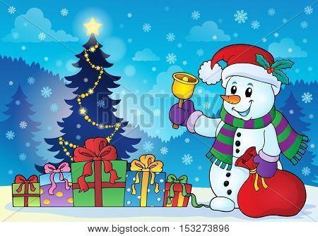 Snowman near Christmas tree theme 3 - eps10 vector illustration.