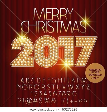Vector light up royal Merry Christmas 2017 greeting card with set of letters, symbols and numbers. File contains graphic styles