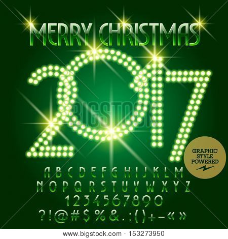 Vector chic light up Merry Christmas 2017 greeting card with set of letters, symbols and numbers. File contains graphic styles