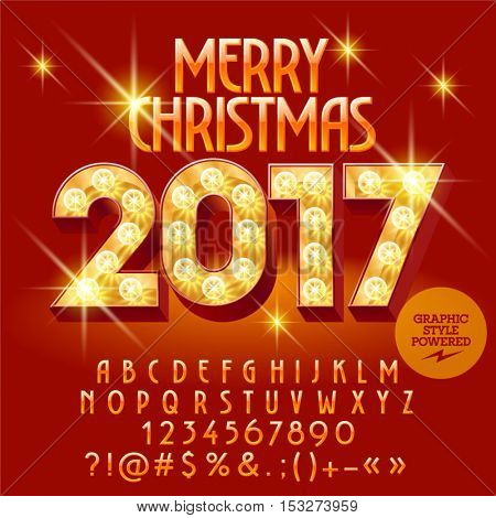 Vector light up bright Merry Christmas 2017 greeting card with set of letters, symbols and numbers. File contains graphic styles