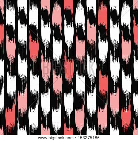 Abstract spots seamless background, black. Vector background of vertical, jagged, pink and white spots on a black field. For the decoration.