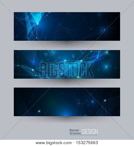 Vector banners set with polygonal, geometric, circles, lines and Triangle pattern shape. Abstract low poly with connecting dots and lines. Connection structure background for web banner template