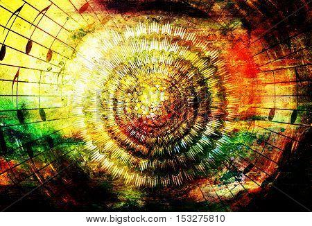 solar mandala amidst music notes symbolizing music inspiration