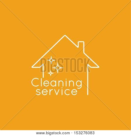 Vector logo with clean house. Icon cleaning services.  Linear icon. Thin line. The concept of home cleaning and cleanliness.
