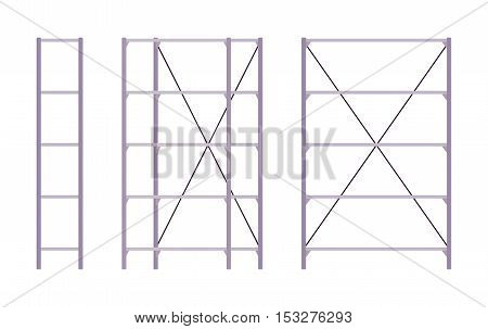 Set of metal silver standing rack shown from different positions. Cartoon vector flat-style illustration