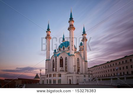 View of the mosque Kul Sharif in Kazan at sunrise Russia