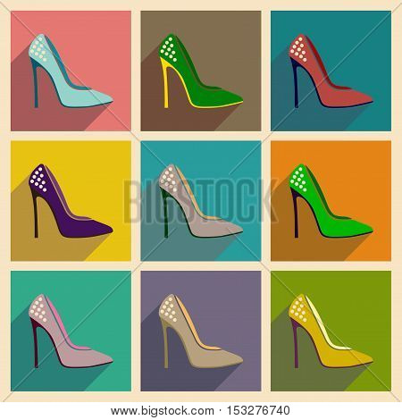 Concept of flat icons with long shadow  stiletto heels