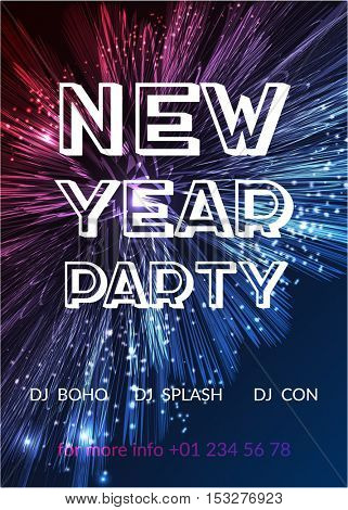 Happy new year party poster. Bright fireworks background. 2017 holiday background design.