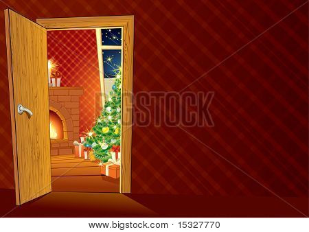 Festive Christmas interior - vector illustrated Background for your text or design