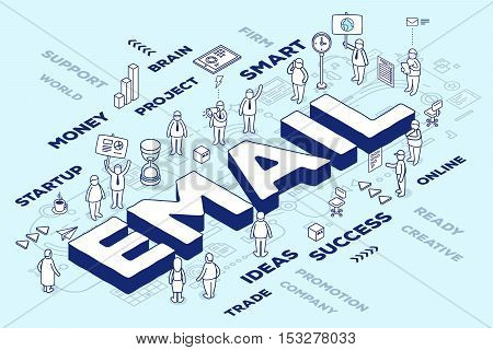Vector Illustration Of Three Dimensional Word Email With People And Tags On Blue Background With Sch