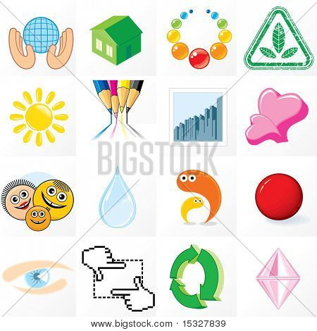 Set of Abstract vector Business symbols, logos, emblems, icons and design elements - clip art with easy editable flat colors