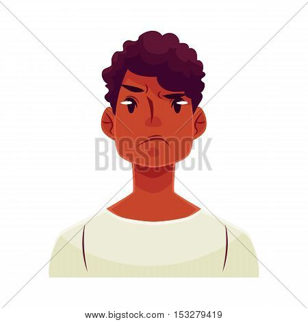 Young african man face, angry facial expression, cartoon vector illustrations isolated on white background. Handsome boy emoji, feeling distressed, frustrated, sullen, upset. Angry face expression