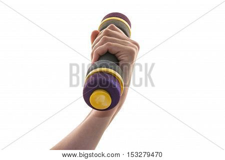 female hand holding a dumbbell close-up - isolated on white background