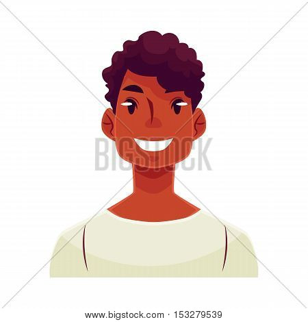 Young african man face, smiling facial expression, cartoon vector illustrations isolated on white background. Handsome boy emoji with wide smile, white teeth. Happy, glad, smiling face expression