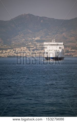 Ferry At Sea Strait Of Messina Between Sicily Calabria Italy