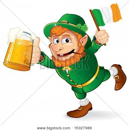 St Patrick's Day traditional celebration symbol - Colorful Cartoon illustration of a Happy Smiling Leprechaun with mug of lager beer  and irish flag holding in hand - vector isolated on white