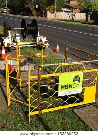 Melbourne Australia - October 20 2016: NBN Hybrid Coaxial Fiber cable installation with a cable drum in the suburb of Glen Waverley part of the National Broadband Network HCF augmentation.
