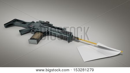 Concept Defeat White Flag From The Barrel Of The Machine 3D Render
