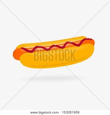 Hot Dog with ketchup vector illustration eps 8 file format