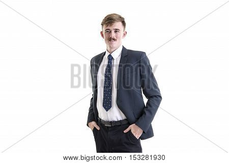 Business, People And Office Concept - Happy Smiling Businessman In Dark Grey Suit