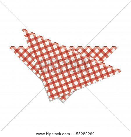 picnic napkin kitchen utensil over white background. vector illustration