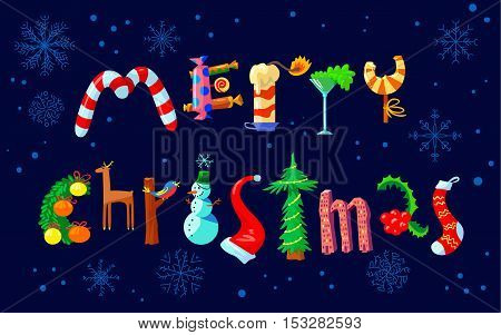 Merry Christmas hand drawing lettering. The letters silhouettes are drawn in the form of the Christmas objects with decoration balls gifts cane candies deer holly suck pine tree candy cane. Cute design element for winter seasonal poster card background
