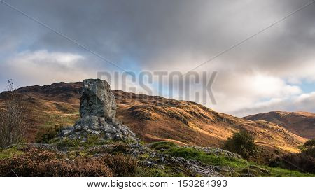 A stone memorial to a battle in Glen Trool in 1307 when the Scots lead by Robert The Bruce defeated an English Army