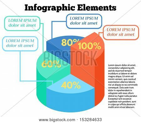 Isometric Vector Infographic Elements. Business Pie Chart on White Background. Colorful circle diagram with different percentage.