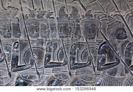 Ancient Reliefs At Angkor Wat, Cambodia