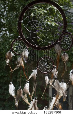 One brown dream catcher with green trees as background in sunlight