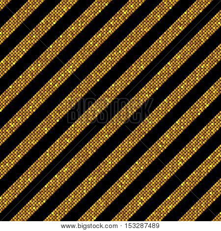 The parallel Diagonal lines on the black background. Background made of Gold sequins. Mosaic sequins glitter sparkle stars. Parallel.