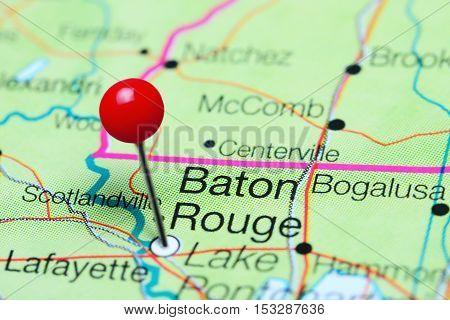 Baton Rouge pinned on a map of Louisiana, USA