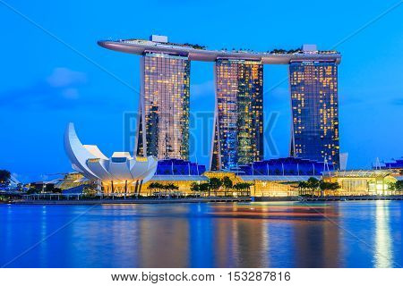 Singapore City, Singapore - January 6, 2016 Marina Bay Sands casino at twilight.