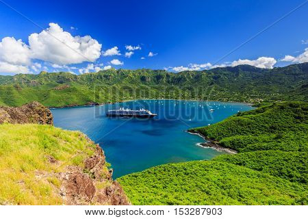 Nuku Hiva, Marquesas Islands. Bay of Taiohae, French Polynesia.