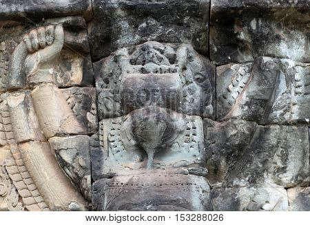 Ancient bas-relief at the Terrace of the Elephants in Angkor Thom Cambodia.