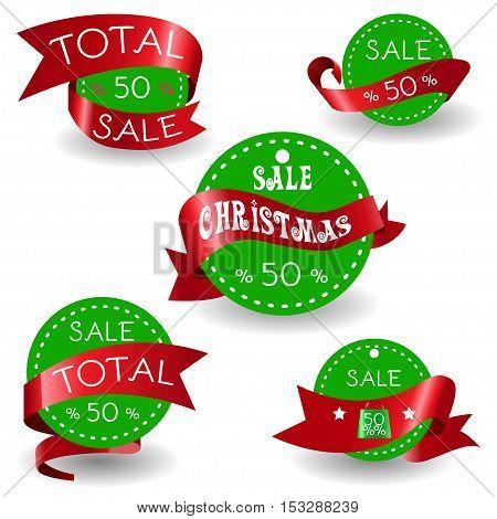 Big Sale Christmas Ball Sticker tags with Sale 50 percent text on Colorful Christmas Ball Sticker tags