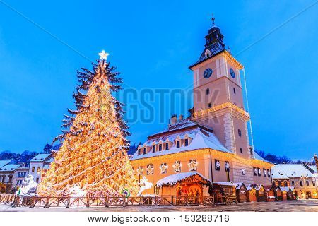 Brasov, Romania. Christmas market in the center of old town.