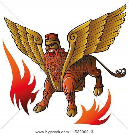 Assyrian mythical deity Shedu, winged bull with human head, banishing evil spirits, vector illustration poster