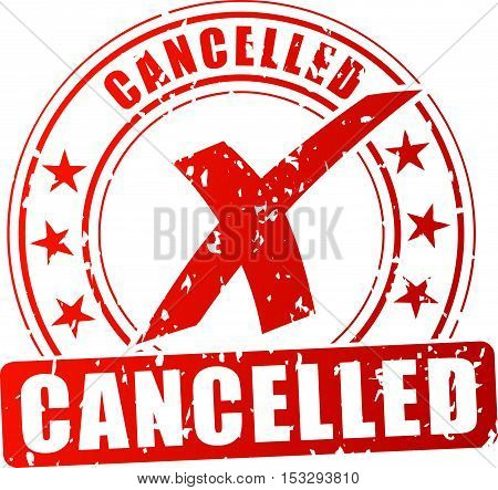 Illustration of cancelled red stamp on white background
