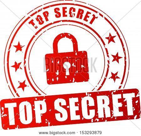 Illustration of top secret red stamp on white background