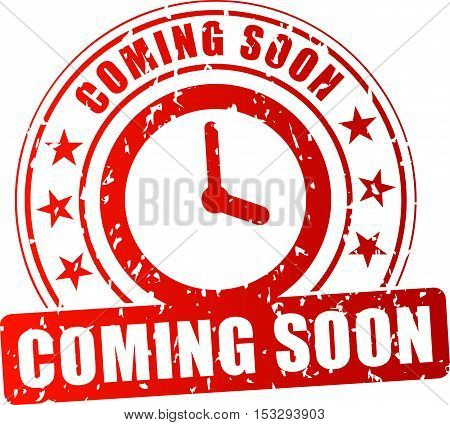 Illustration of coming soon red stamp on white background