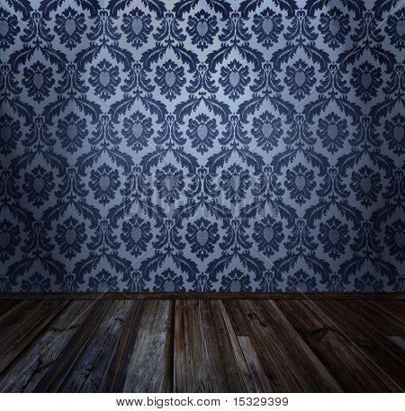 Interior de la habitación - vintage wallpaper, piso de madera