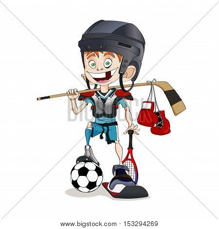 Redhead toothless all-around sports boy with many different sportive equipment - stock vector