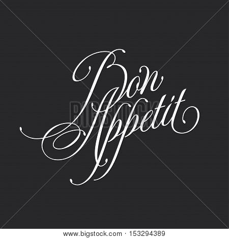 Bon appetit. Retro style lettering illustration. Calligraphic motivational inscription. Vector vintage typography. Trendy design element for wall art, stickers, cards, prints and posters.