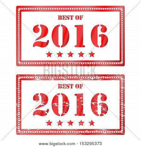 Vector illustration of red square grunge rubber stamp Best of 2016. Cliche, mark for sale in stores in the past year. Drawing print on an isolated white background. Icon for clearance sale.
