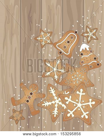 an illustration of wooden floor boards with christmas gingrbread cookies and scattered sugar